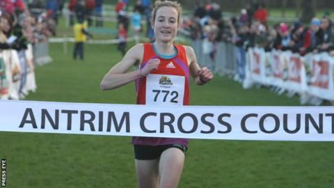 Fionnuala Britton crosses the line at Greenmount