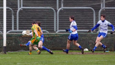 Adrian Hanlon scores a goal but his Donegal side was beaten 3-16 to 1-05 by Monaghan in the McKenna Cup