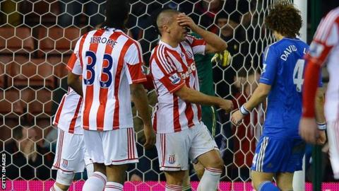 Stoke City striker Jon Walters (centre) had a game to forget against Chelsea