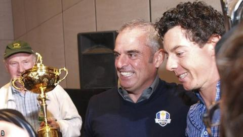 Paul McGinley and Rory McIlroy after the European captaincy announcement in Abu Dhabi.