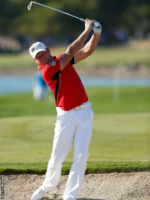 Jamie Donaldson in action at the Abu Dhabi Golf Championship