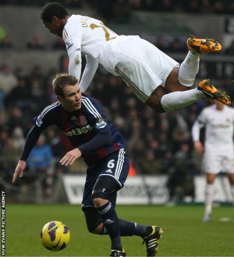 Swansea's Jonathan De Guzman and Stoke's Glenn Whelan compete