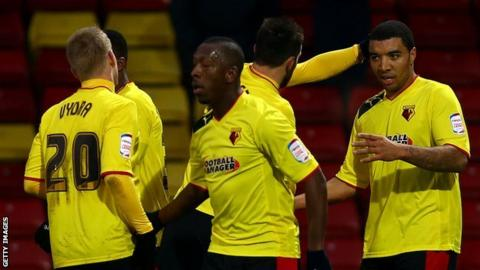 Watford celebrate the opening goal