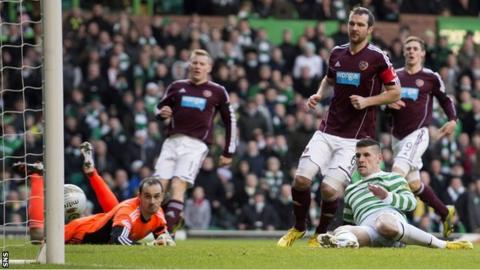 Gary Hooper opens the scoring at Celtic Park