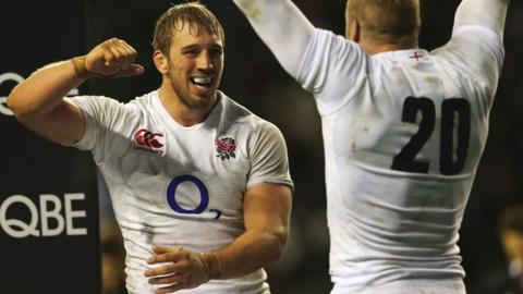 England captain Chris Robshaw celebrates the win over New Zealand with flanker James Haskell