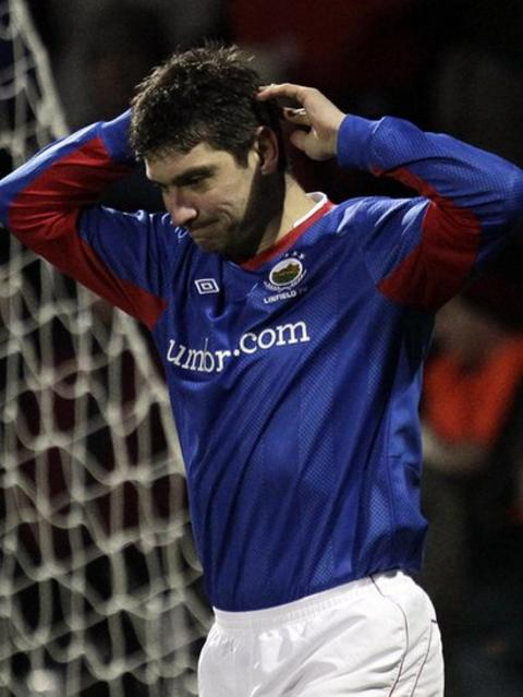 Linfield's Matthew Tipton reflects on a near miss against in the replay against Crusaders