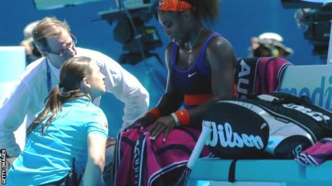 Serena Williams calls for the trainer