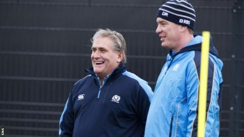 Scotland interim head coach Scott Johnson (centre) and forwards coach Dean Ryan