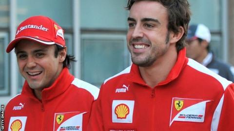 Ferrari F1 drivers Felipe Massa and Fernando Alonso