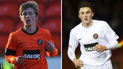 Dundee United players Ryan Gauld and John Souttar