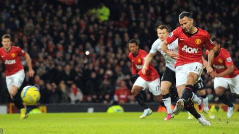 Ryan Giggs converts a first-minute penalty to give Manchester United an early lead in their FA Cup fourth round tie against Fulham at Old Trafford.