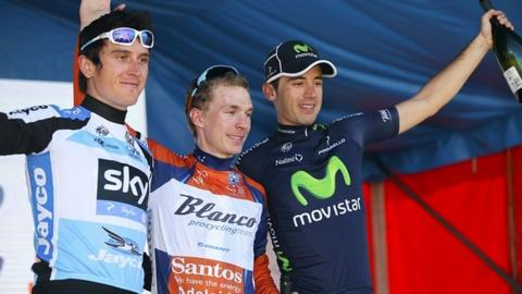 Geraint Thomas (left), Tom-Jelte Slagter (centre), Javier Moreno (right)