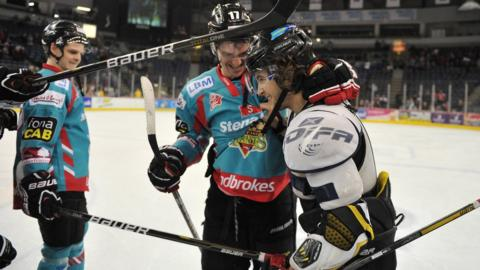 Darryl Lloyd, man of the match for the Belfast Giants, is congratulated by his team-mates after the 5-0 win over the Edinburgh Capitals