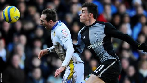 Gareth Bale battles for the ball with Leeds United's Aidan White during Tottenham's 2-1 defeat at Elland Road in the FA Cup fourth round.