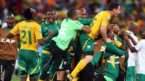South Africa celebrate one of their goals against Morocco