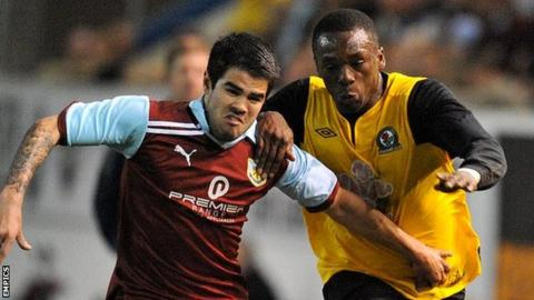 Osayamen Osawe (r) in action for Blackburn