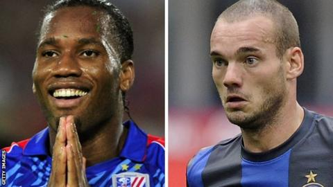 Didier Drogba and Wesley Sneijder