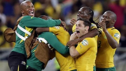 South Africa players celebrate after scoring against Morocco