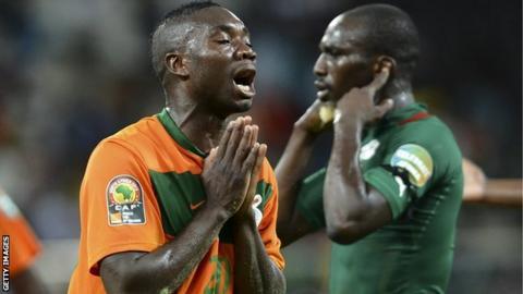 Zambia's Emmanuel Mayuka reacts during Zambia's final group game against Burkina Faso
