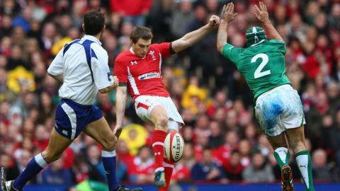 Ireland hooker Rory Best charges down a kick from Wales fly-half Dan Biggar that leads to the visitors scoring a second try