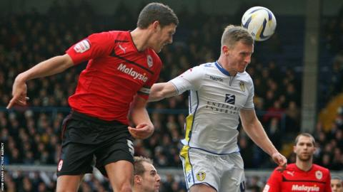 Cardiff captain Mark Hudson goes close to breaking the deadlock against Leeds United.
