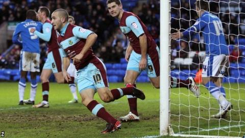 Martin Paterson celebrates his equaliser for Burnley