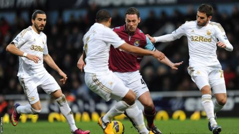 West Ham captain Kevin Nolan takes on the Swansea City counterpart Ashley Williams at Upton Park.