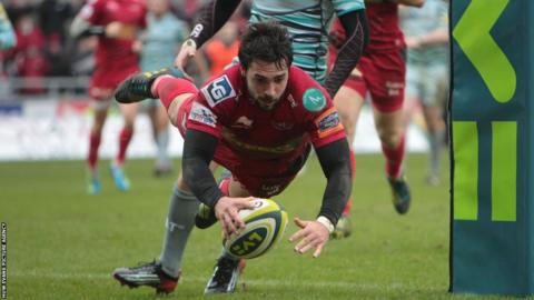 Gareth Owen dives over for a try as Scarlets beat Leicester 40-19 in the LV= Cup
