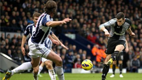 Gareth Bale scores the winning goal for Tottenham Hotspur in their Premier League game at West Bromwich Albion