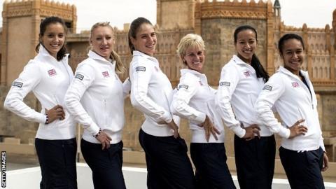 Laura Robson, Elena Baltacha, Johanna Konta, Judy Murray, Anne Keothavong and Heather Watson