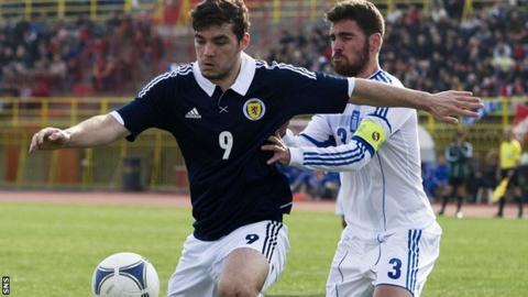 Celtic striker Tony Watt in action for Scotland U21s in Greece