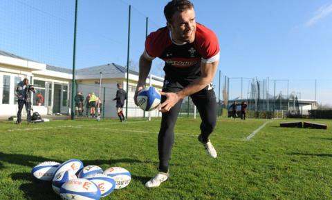 Centre Jamie Roberts takes part in a training session ahead of Wales' Six Nations clash against France on Saturday.