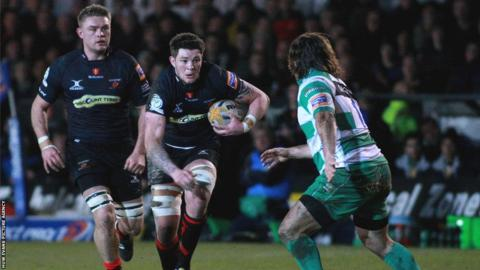 Ieuan Jones goes on the charge for Newport Gwent Dragonsas they come from behind to beat Treviso 23-14 at Rodney Parade