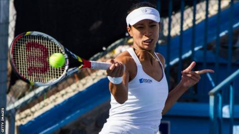 Anne Keothavong in Fed Cup action