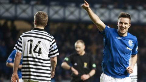 Andy Little celebrates scoring for Rangers against Queen's Park