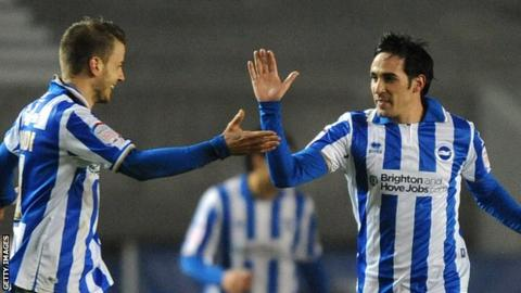 Vicente (r) celebrates with Andrea Orlandi