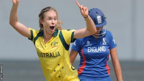 Australia's Holly Ferling celebrates a wicket