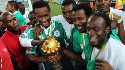 Nigeria players celebrate their Nations Cup success