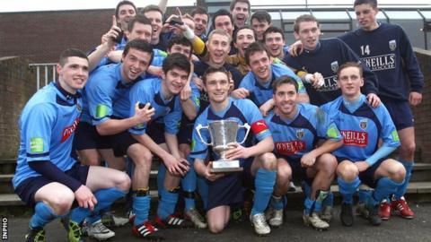 UCD celebrate their Collingwood Cup triumph last year