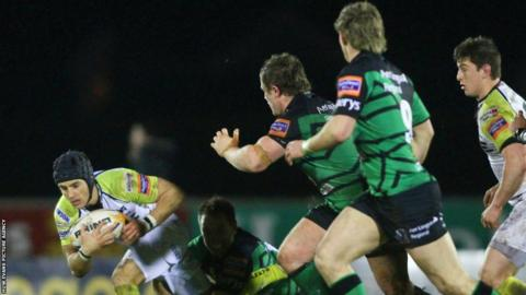 Ospreys fly-half Matthew Morgan is tackled by Dan Parks as they lose 22-10 at Connacht