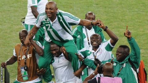 Nigeria coach Stephen Keshi celebrates his team's Nations Cup win