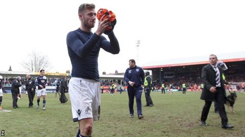 Millwall goalscorer James Henry applauds the fans after the final whistle of the FA Cup fifth round match against Luton