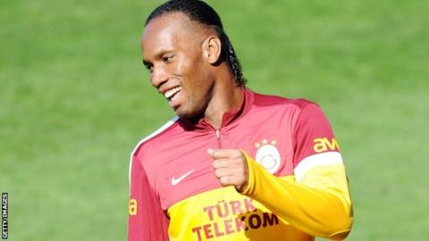Didier Drogba training for his new side Galatasaray