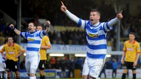 Peter MacDonald celebrates scoring for Morton against Partick Thistle