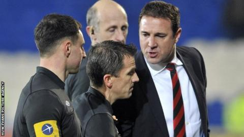 Malky MacKay takes issue with the officials after Cardiff's 2-0 defeat by Brighton.