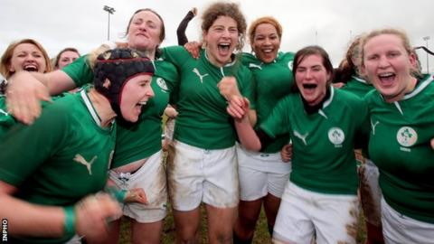 Ireland's women celebrated a 25-0 win over England