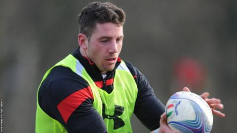 Wing Alex Cuthbert is a picture of concentration in Wales training