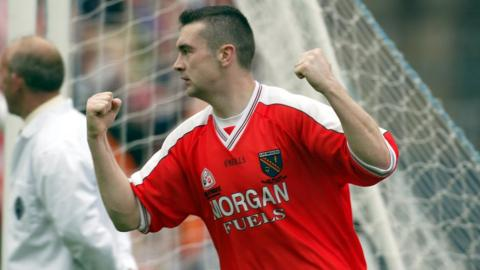 Oisin McConville celebrates his goal for Armagh in the 2002 All-Ireland final against Kerry