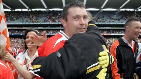 Oisin McConville celebrates after Armagh's win over Donegal in the 2006 Ulster football final at Croke Park