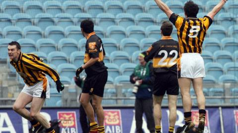 Oisin McConville celebrates scoring the equalising point which earned a replay in the 2007 All-Ireland Club final against Dr Croke's